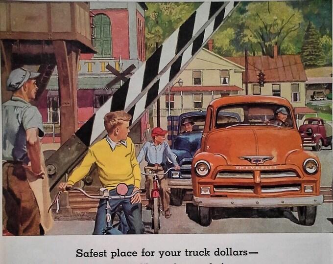 1954 Chevy Truck Orange Chevrolet Small Town Americana Illustration Uptown Bikes Kids Railroads Traffic Very Cool print 13x11 Ready Frame