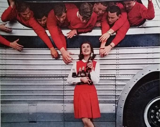Coke Ad Coed Football Team Rah Team.   Cute College Girl Busfull On Way to Game 'Girl, Team, Fun, Friends'  Fun ad Movie Room Ready Framing