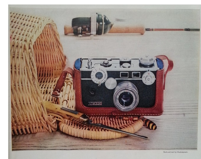 Argus C-3 camera in leather case 1957.  Cruel,  Rod with Reel.  Fishing Trip Pictures.  Color Photo.  Vintage Camera. Ready for Framing.