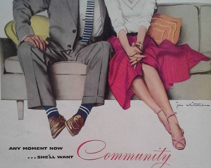 Cute Couple Couch Smooching Illustrated In Love 50s Fashion Body Language Flirting Community Silverware Ad.  13x10 Ready Frame.