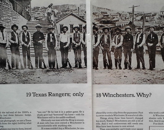 "Winchester Rifle ad 60s ""19 Texas Rangers"" Posing Lined up 1890s Lawmen Fixtures 'badge, moustache, and Winchester' 8x10 2pps Frameable"