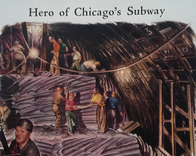 Chicago IL Subway 40s Illus BW Photo underground activity Chain Belt Co & Cutler Hammer Motor Co 2 pages History 14x10. Ready for Framing.