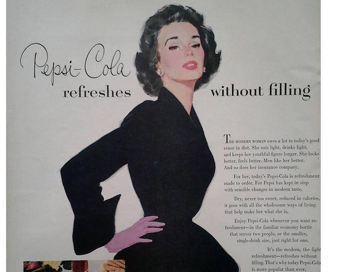 Sexy Woman Black Dress Pepsi-Cola Sociables Classic 1953 Illustration Cola Pop Ad 50s Woman Black Dress. 13x10.  Ready Frame
