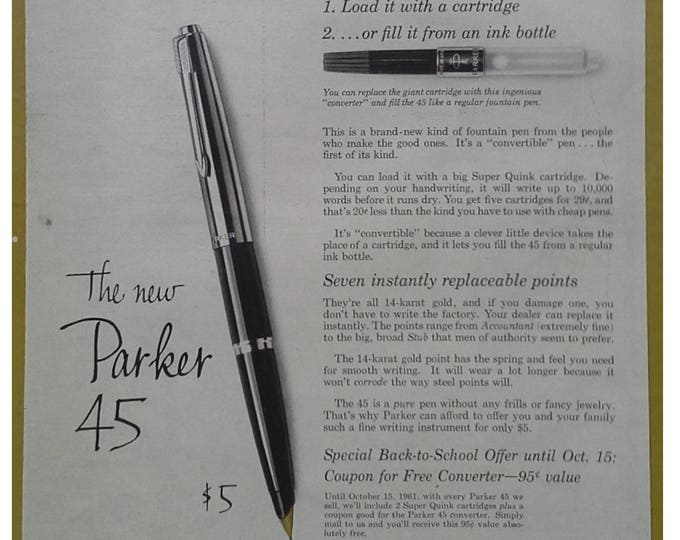 Parker Pen Lovers. Parker 45 Simple Ad Fantastic Fountain Pen Black Silver 14k gold Ready to Frame for pen fanatics. Black White  13x10