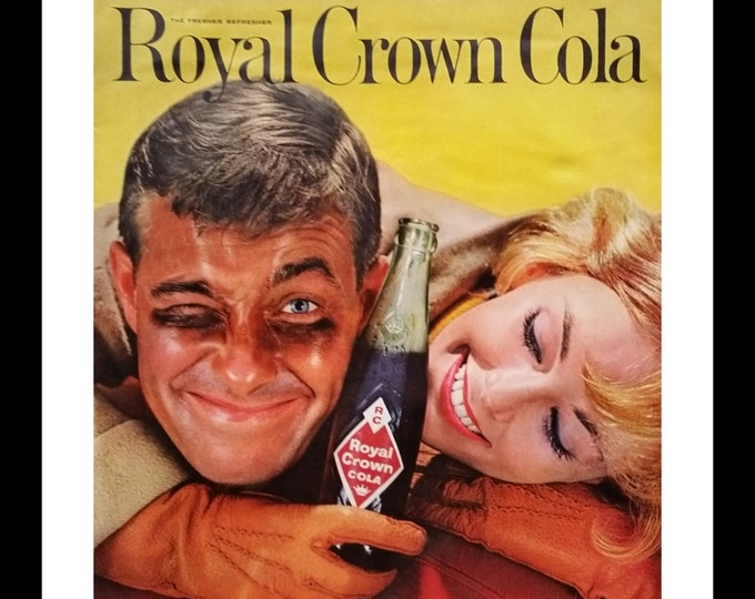 Backyard Football player & huggy girlfriend lovers in Royal Crown Cola ad.  Very cool print.  She's cheering him on.  Ready for Framing.