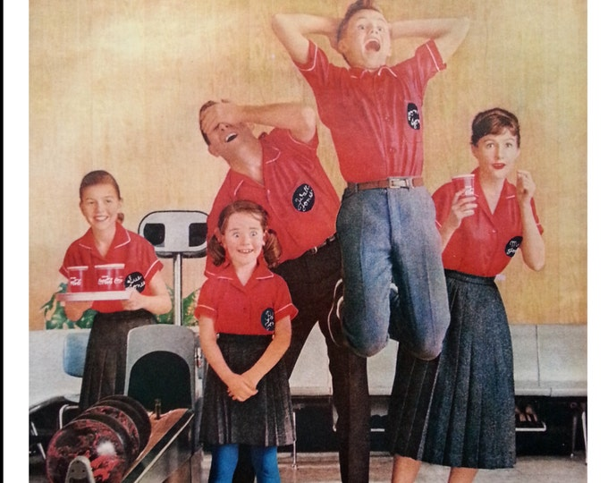 Red Headed Family Estactic Bowling Strike.  Coke Ad Family Fun.  50s Leisure Time.  Funny Kids.  Freckled Kids.  Shocked Mom.  Ready Frame.