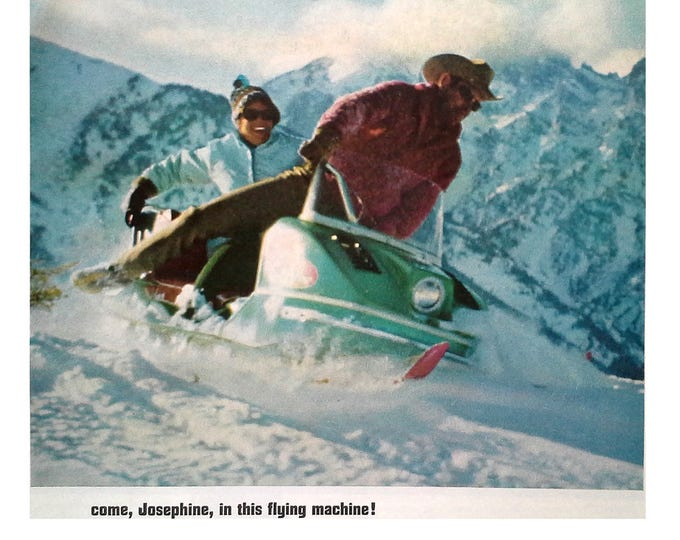 Johnson Skee-Horse Snowmobile Vintage Classic 1966 Green Mountain Trails Cowboy & Wife.  Cool Ad for Snowmobile Fans. 13 x 10.