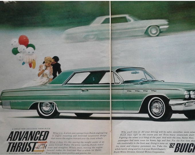62 Buick Electra Lime Green Couple in Love Balloons Cool Baloons Busy Couple 62 Detroit Design 2 pages 13 x 10. Ready Frame