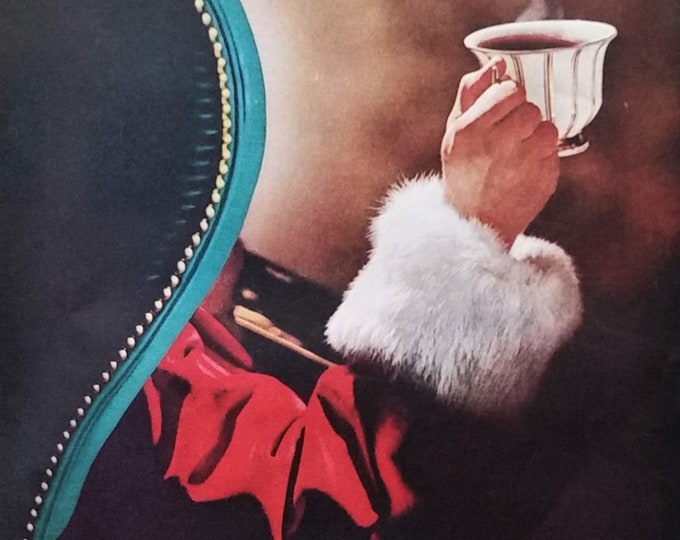 Santa Clause Prefers Coffee 8 O'Clock A&P Ad Color Illust Christmas Eve Relaxing Gift Delivery Stop Cup O' Joe Coffee Lovers Gift 13x10