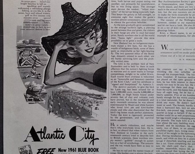 Atlantic City NJ Tourism Ad 1950s BW 1/2 Page Ad Illustratoins Boardwalk Blond Beach 'Out of this World'  Fun Small ad 5x13 Frame