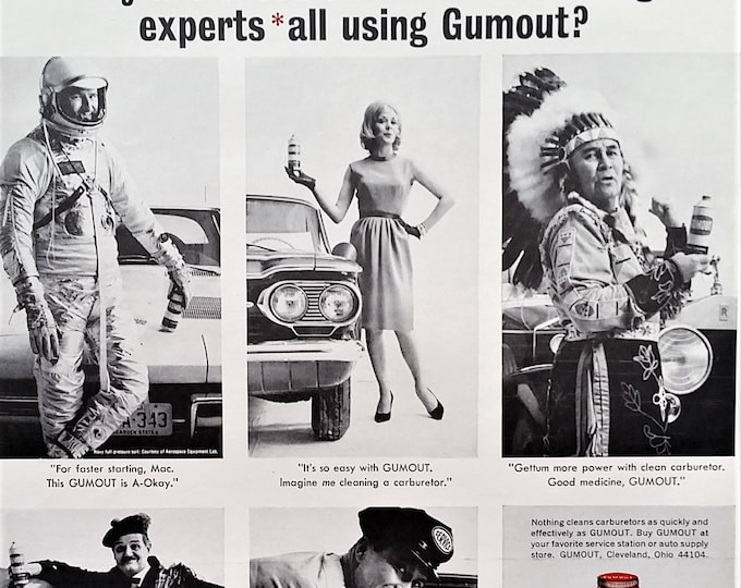 Astronaut Indian Chief Scottish Highlander & Woman 60s Ad for Auto Fluids PC Unfriendly Classic Characters Ad .  13 x 10. Ready for Framing.
