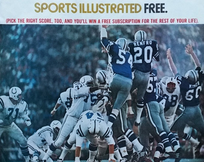 Baltimore Colts v Dallas Cowboys 1960s Action Shot Sports Illustrated Ad Photo Punt Block Renfro Kaiser Action 13 x 10 Ready Framing.