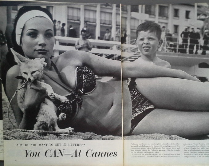 Sexy Actress 1962 Philemone Toulouse Bikini Fox Pet Red Head Boy Beach at Cannes Film Fest Funny Classic Photo 2 pps 13 x 10 Ready Framing
