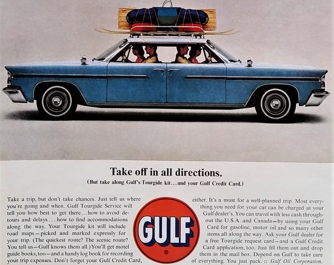 Gulf Oil Push Me Pull Me Car 'Take off in all directions.' Husband Wife 1 car 2 front ends Funny Ad Skiing Beach 13x10 Ready to Frame