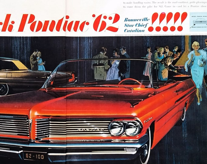 62 Red Pontiac Bonneville Convertible Mid Century Modern Home Fireplace Party Catalina Illustrated Couples 2 pps Ready Frame