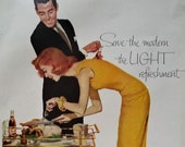 Modern Couple Thanksgiving Turkey Slicing Laughing Illustrated Sexy In Love Couple Red Head Slim 50s Pepsi. Ready Frame 13 x 10.