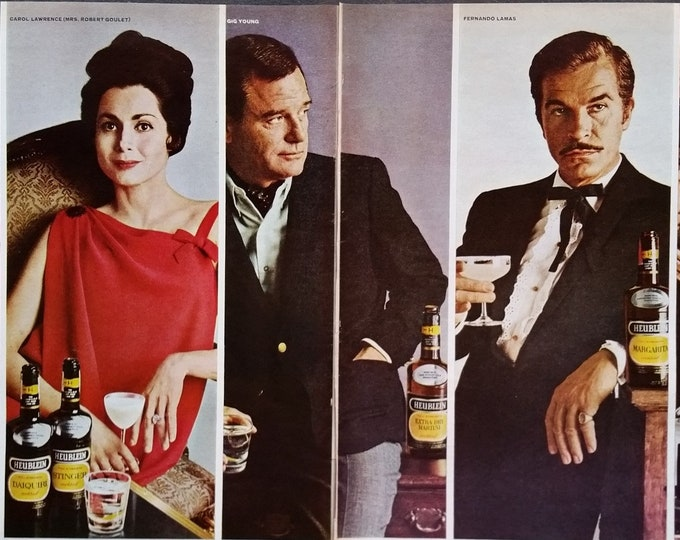 Fernando Lamas Robert Goulet George Sanders Gig Young 1964 Actor Row for Liquor Ad Fun Home Bar Art Celebrity cover 2 pages Ready Framing.