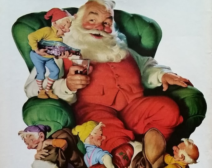 Santa Clause Coke 50s Elves Elf Pouring Coca-Cola Putting Slippers Long Night Fun Classic Chubby Claus IIllustrated 13x10 Ready Framing.