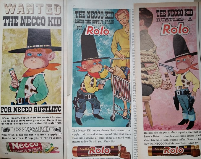 Red Headed 'Cowboy' Necco Kid 10-Gallon Hat Fun Illustration Mom Grocery Cart Dad Tied Up Necco Rolo Half Page Ads Lot of 3 Ready Framing.