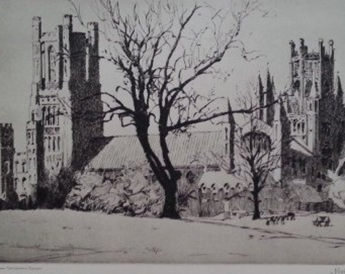 Ely Landmark Pen Country by Norman Wilkinson 1939 Vintage 11x7 Black and White Engraving Vintage Religious Buildings England