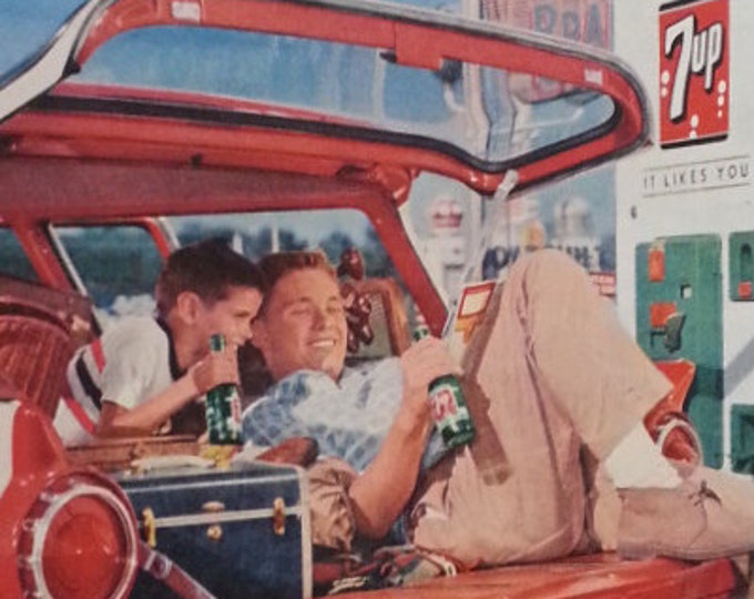 Classic Pop Ad 7up Brothers Enjoying Comics on Road Trip.  7UP ad and Vintage Pop Machine.  13 1/2 x 10 1/2 Ready for Framing.