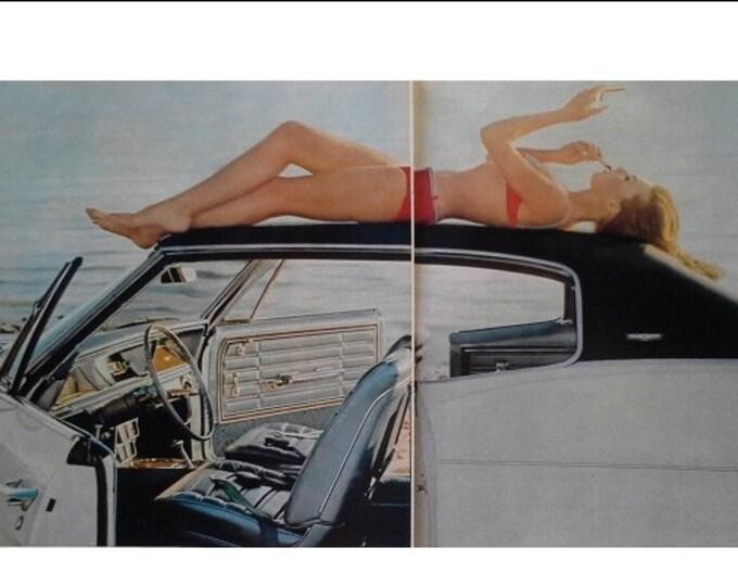 65 Chevy Caprice White Black Bikini Loungin 2 pp Girl Bikini at Beach Enjoying Sunshine and Getting a Tan.  Skipping School.  Ready Frame.