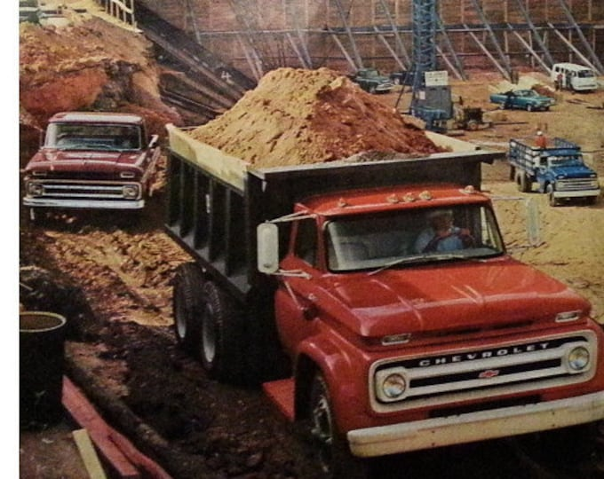 64 Chevy Trucks Chevrolet 60s Various Working Truck Models  Construction Site Red Dumptruck 2 pages  13 x 20.  Ready for Framing.