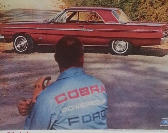 "Carroll Shelby ""Ford v Ferrari""  65 Ford Fairlane  Vintage 1965 and Carroll Shelby too.  Celebrity Car guy  ""Best V-8""  13 x 10  Ready Frame"
