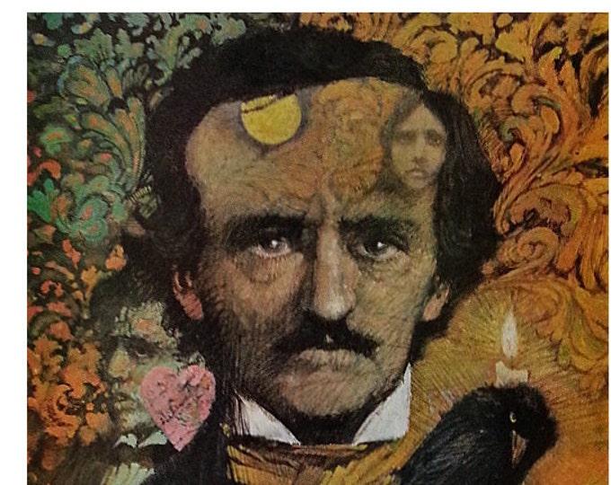 Edgar Allan Poe Illustration Library Art James HIll Post 64.  'His Genius Haunts us Still...' Wonderful unique portrait.  Ready for Framing.