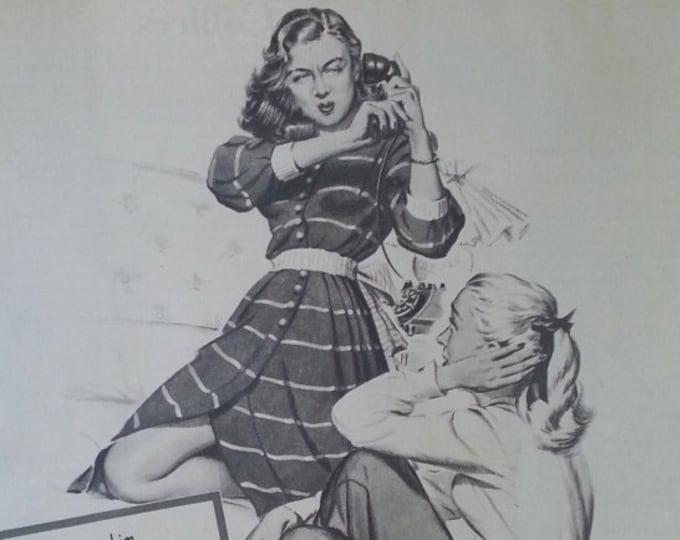 Flirting Teens Kids Room Art Phones Angst  Funny Girlfriend Yelling Boyfriend Vintage teen Socializing Girlfriends hangin out 50s