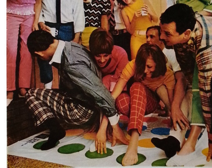Adult Twister Game In the 60s Fun or... Adult Twister Party.  Famed goofy game Color Spots and Odd Touching Game Room 13x10 Ready Frame