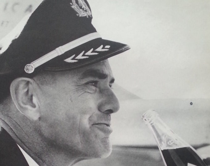 American Airlines Pilot RC Cola Drinker. 60s BW Photo.  Confident Happy Soda Cola drinker. Cocky smiling Captain Jim Little. Ready to Frame