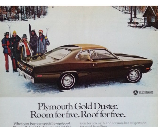 Plymouth Duster 60s Skiing in Style.  PART-AY on the Slopes.  Vintage Mopar 1969 Brown Gold Plymouth Duster.  13 10  Ready for Framing.