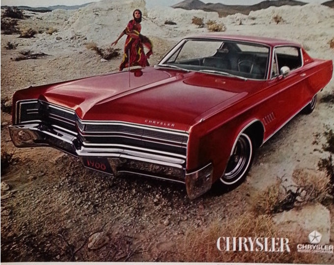 68 Chrysler 300 Red 440 cubic inch V-8 Big Engine Hot Rod Classic Styling 1968 Lipstick Red Vintage Auto Ad  13 x 10.  Ready for Framing.