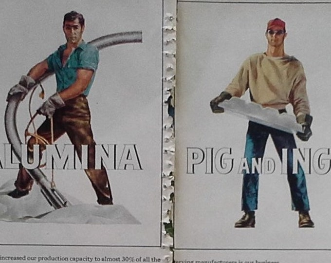Buff Macho Men Illustrate Different Aluminum Uses 50s Sexy Working Men 8 in All 2 pages Fun Wall Art Homoerotica Garage Ad Art 13x11