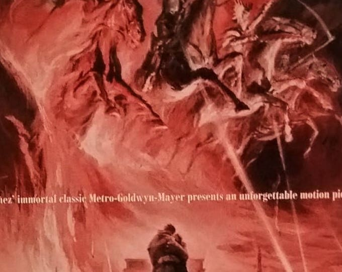 4 Horsemen of the Apocalypse Movie Poster 1962 Illustrated End World Drama Movie Room Art  Prophecy MGM Disaster 13 x 10 Ready to Frame
