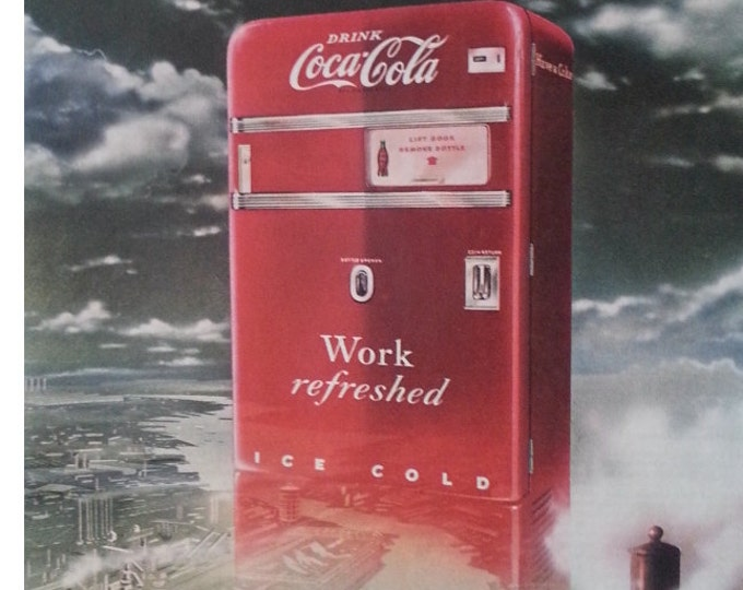 Coke Machine VTG Cola Ad Machine above City VERY COOL.  Vintage Cola Machines.  Post Modern.  Ready for Framing.