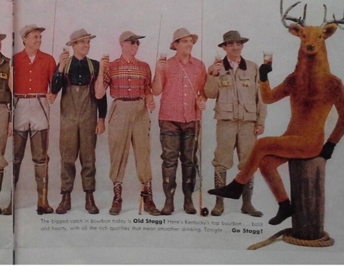 Old Stagg Whiskey Ad with Deer Suited and Sitting with Group of Men Gift Classic Man Cave Basement Bar ad 2 page 1/2 page ad Ready Frame