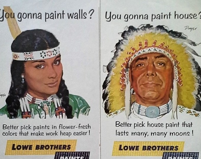 """American Indians Illustrated In Ads 1965 Paint Ad Lowes Bros """"Look for Paints with Palefaces...""""  """"Many moons"""" Non-PC 13 x 10 Ready Framing"""