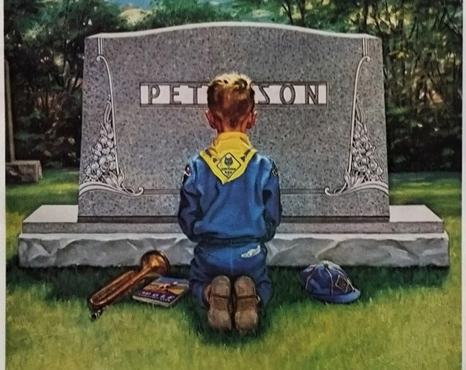 Son & Father Honoring Memory Headstone Ad Webelo Cub Scout 60ss Wolf Pack Bugler Praying Kneeling Support Vets 13 x 10.  Ready for Framing.
