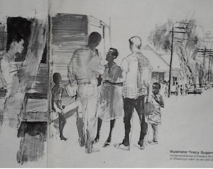 66 Civil Rights Illustration.  Mississippi Blacks Voting Rights Article.  BW Illustrations Rural Life Community Battling Barriers. 2 pps.