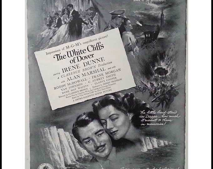 Movie Poster 1943 White Cliffs of Dover Irene Dunne 1943 BW Poster. WWII World War 2 film. Movie Room Ad Art Roddy McDowall.  Ready Frame.