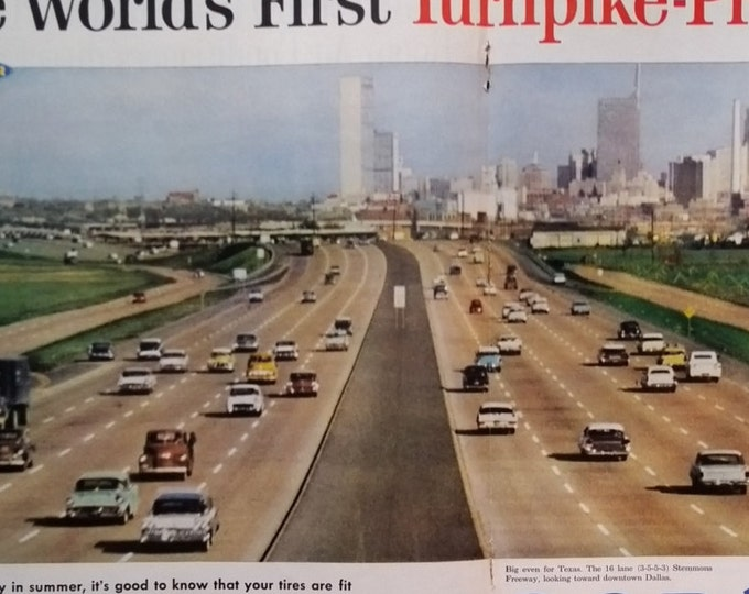 Dallas Stemmons Freeway 16-Lane monstrosouty 60s Cars Skyline 1960 TX Dallas Ft Worth fan.  Color Photo Ad.  2 pages.  11x13