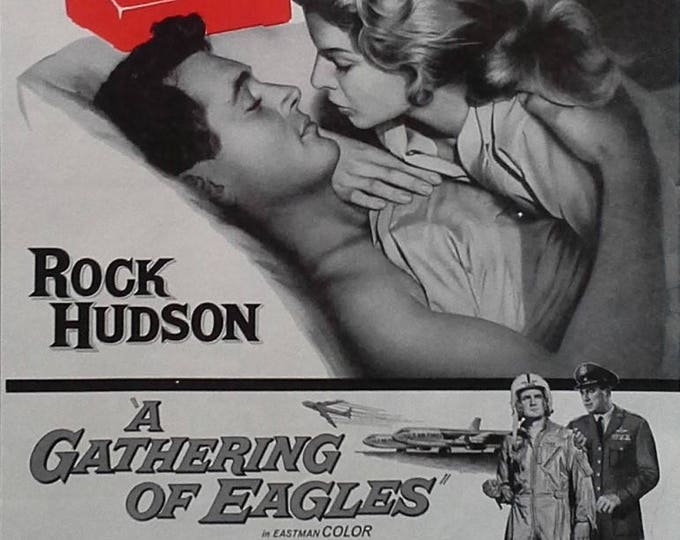 Movie Poster Rock Hudson Gathering of Eagles USAF Air Force Ace B-52 Cold War Love Story.  BW Poster Half Page 13x10 Ready to Frame