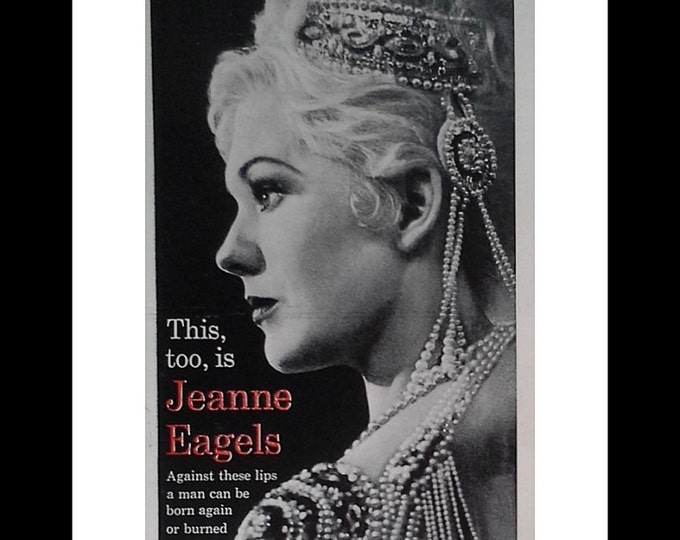 """Kim Novak Movie Poster.  """"Jeanne Eagels"""" 'Against these lips a man can be born again or burned again...' COOL poster. Half Page Ready Frame"""