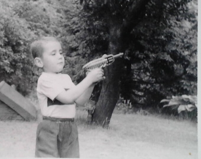 Found Photo Spacegun toy Wielding young lad Boy Steampunk Kid Early Vintage Spacetoy Classic Collectible Alien UFO  BW photo. 40s. BW 3 x 4