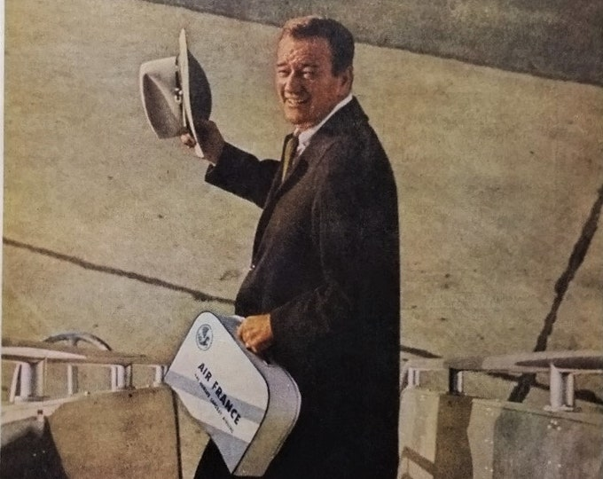 John Wayne The Duke Citizen Clothes Ad Air France Rider Deplaning Unusual Photo 1961 Movie Star Photo Western Fans  13 x 10. Ready Frame