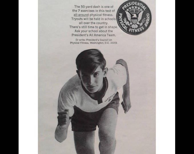 Presidential Physical Fitness Award' 60s Man Cave Exercise Room campaign develop grow physical activity in High School Late 60s. 1/2pp ad.