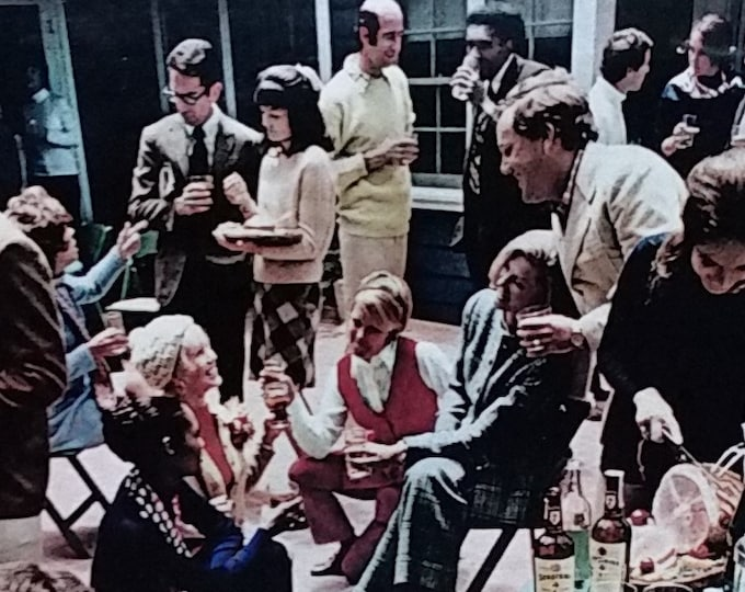 House Party 1972 Collection of Iconic characters Fashio Activity Fun Man Cave Seagrams 7 Liquor ad Color photo 13x10.  Ready Frame