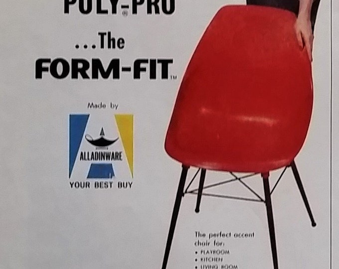 Poly-Pro Red Chair 60s Spencer Chemical CO Kansas City MO Eames Form-Fit Mid-Century Chairs 1961 'Sit In It' 1/2 page 13x10 Ready Framing.